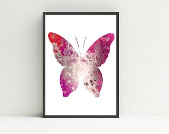 Butterfly Art Print - Pink Abstract Decor - Artwork for Girl Room - Digital Art Download - Instant Printable - Bug Insect - DIY Housewarming