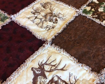 Wildlife Quilt, Throw, Rag Quilt, with Cream Embroidered Wildlife Squares, and Brown, Maroon, Green Flannel