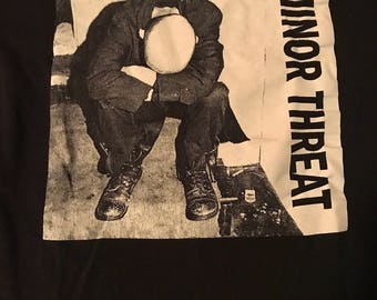 Vintage Minor Threat T-Shirt Punk  Rock Tee Ian Mckaye Dischord DC Hardcore Straight Edge Black / White Design Size Med Skater Thrasher Punk