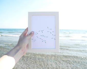 Seagulls - Art print, drawing, myxomycete...