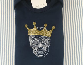 Embroidered skull with crown long sleeve bodysuit (onesie)