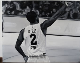 Handmade oilpainting art - Kyrie Irving Boston Celtics NBA