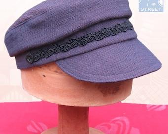 Wool Greek fisherman cap fiddler cap purple with black braid trim wool hat
