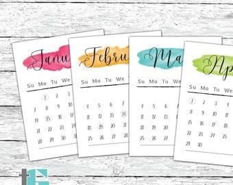 2018 Calendar - 2018 Watercolor Calendar - 2018 Calligraphy Calendar - 2018 Calendar with Holidays - Hanging Wall Calendar - Printable