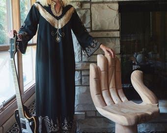70s Hand Embroidered Black And Gold Kaftan Dress