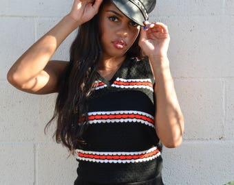 70s Black and Neon Orange Knit Sweater Vest, Sz M/L