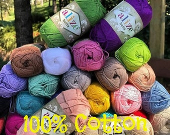 Alize Bella, %100 Cotton yarn, Crochet yarn, knitting yarn, baby yarn, soft yarn, hypoallergenic yarn, sport yarn, cotton yarn, toys yarn