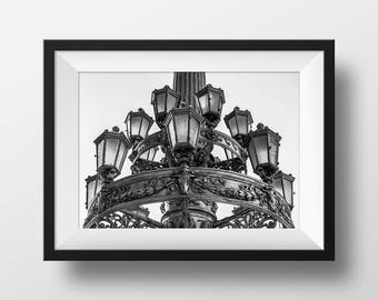 Black and White Lamp Photo Print, Prague, Czech Republic, Czechia, European Wall Art, Travel Photography, B&W, Lightpost, Bohemia, Old World