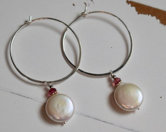 Pink Tourmaline, Coin Pearls and Sterling Hoop Earrings~ June Birthstone~ Pearl Earrings~ Gifts For Her~