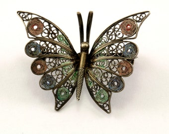 Vintage Butterfly Filigree Design Pin/Brooch 925 Sterling BB 722-E