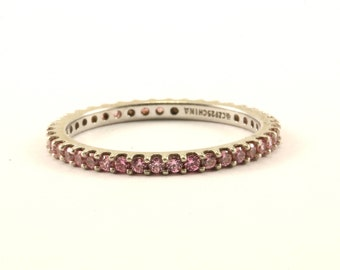 Vintage Pink Crystal Eternity Band Ring 925 Sterling RG 135-E