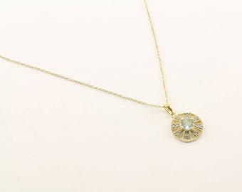 Vintage Round Aqua Blue Crystal Design Necklace 925 Sterling Silver NC 222