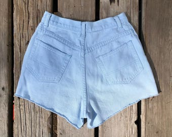 "Vintage Sz 25"" Extra High Waisted Baby Blue Cutoffs"