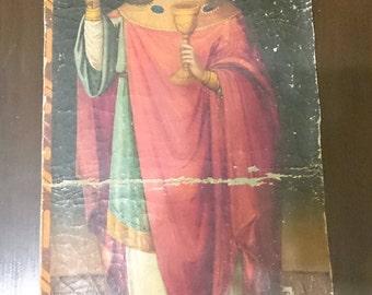 "Antique Russian Orthodox Icon ""Saint Barbara"" in Canvas 19th century."