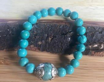 Genuine Turquoise Chakra Balancing Stretch Bracelet