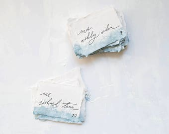 Watercolor Dip Dye Place Cards / Handwritten Escort Cards