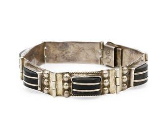 Far Fan Jewelry, Obsidian Bracelet, Antique 1940s Sterling Bracelet, Tribal Ethnic Bracelet, Frida Kahlo Jewelry, Pre Eagle Mexican Bracelet