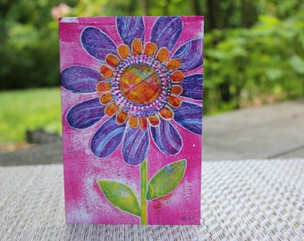 Vibrant Bloom Greeting Card | Purple Flower Card | Magenta Card