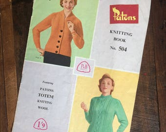 Vintage Patons knitting book no. 504 - Ladies tops jumpers and cardigans - Totem yarn