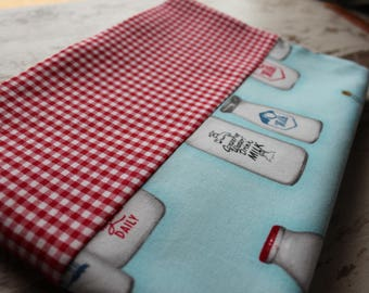 Pillowcase Vintage Milk Bottles and Small Red Gingham Standard Size