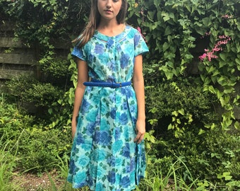 60's Blue Floral Pleated Dress / S