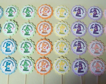 32 - CARE BEARS personalized, cupcake toppers, birthday,  party favors