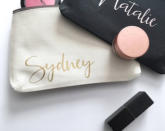 Personalized Bridesmaid Gift - Makeup Bag - Gold Custom Travel Cosmetics Pouch - Small Accessories Bag - Personalized Name Makeup Bag