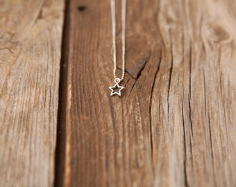 Ball chain necklace, Simple Pendant Necklace, Simple silver necklace, Pendant necklace, Tiny star pendant necklace, Silver Delicate necklace