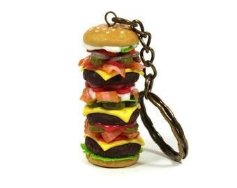 Big Burger keychain, Hamburger keychain, Cheeseburger keychain, Fast food accessory, Burger jewelry, miniature food accessory, Food keychain