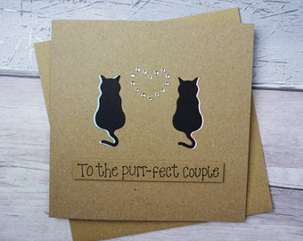 Purr-fect cat couple handmade card: Engagement, Happy Anniversary, Wedding, Congratulations, Personalise the colour, name & date, Pun card