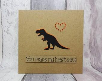 Dinosaur Valentine's Day card, T-Rex Anniversary card, Handmade romantic love card, Funny Dino Pun card, Boyfriend, Girlfriend, Wife