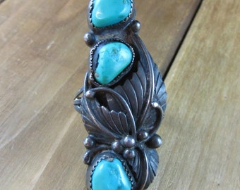 Vintage Turquoise Artisan Ring Size 6 1/2 Multiple Stones Signed DL Sterling Native American 13.3 Grams