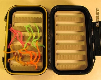 Fly Box with one dozen squirmy worms, fly fishing gifts, trout flies, fly fishing flies