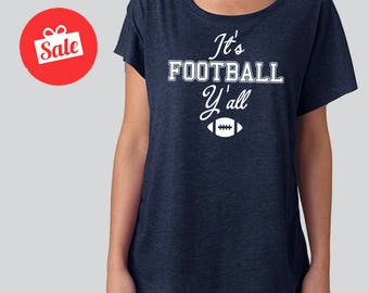 It's Football Y'all Slouchy Dolman Shirt. Off the Shoulder. Football Shirt. Football Season. Football Shirt.