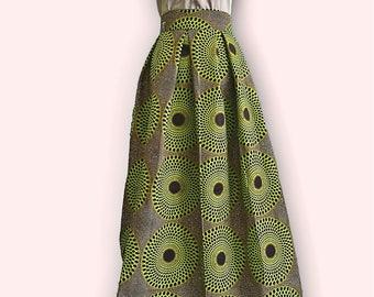 Pleated Ankara Maxi Skirt. African Print Women's Clothing. High Waisted Skirt