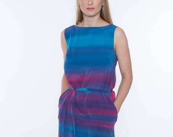 Hand dyed silk dress
