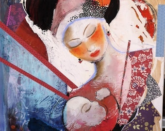 "original art, mixed media painting, abstract painting, acrylic and collage, ""maternity"""