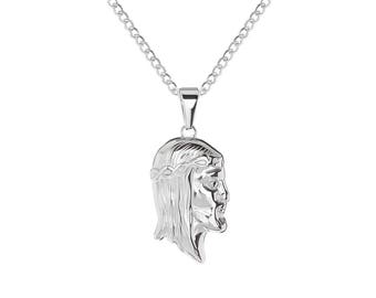 "Stainless Steel Jesus Christ Thorn Religious Pendant, 24"" Chain Necklace"