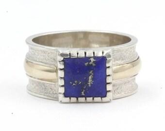 Lapis Lazuli Square Cut, Size 11, 925 Sterling Silver (1376)