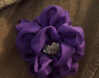 Purple Chiffon Flower,Purple Flower Pin,Purple Flower Brooch,Purple Flower Corsage,Purple Wedding Flower,Flower embellishment,Fabric Flower