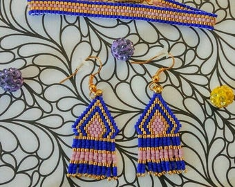 Set bracelet and earrings with miyuki beads