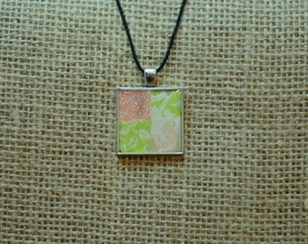 Patchwork pendant Pink & Green Necklace Charm