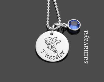 SCHUTZENGELCHEN 2.0 name necklace 925 Silver chain for boy Angels