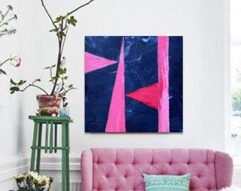 Abstract Geometric Painting - Canvas Art - Large Wall Art - Dining Room Painting - Bathroom Wall Art - Housewarming Gift - Pink Blue Art