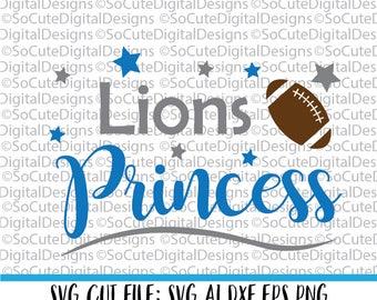 Lions Princess SVG, Detroit Lions svg, football svg cut file, silhouette cut file, cameo file, cricut, sports svg,  cricut svg