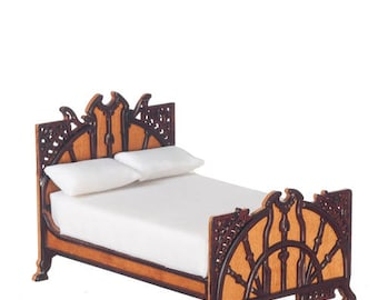 JBM Dollhouse Miniature Art Deco Bed 1:12 Scale Furniture Twin or Double Size Wood