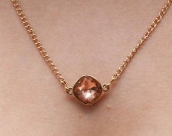 Crystal Necklace. Rose Gold Necklace.Champagne Rose Gold Set Crystal Necklace. Peach Crystal Necklace.