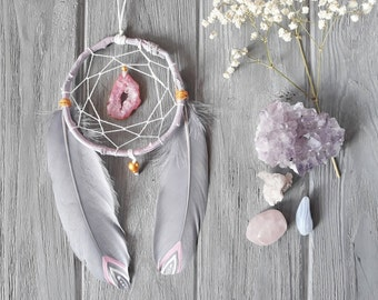 Gray And Pink Nursery Decor Gray Dream Catcher Rose Gold And Grey Dream Catcher Small Gemstone Dream Catcher For Car Healing Dream Catcher