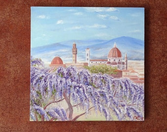 Blooming wisteria in the garden Bardini Florence Italy Art Home Interior Firenze Oil Painting Canvas Art Original Painting Impressionism