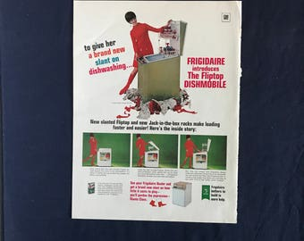 Vintage Frigidaire Fliptop Dishmobile Dishwasher Ad